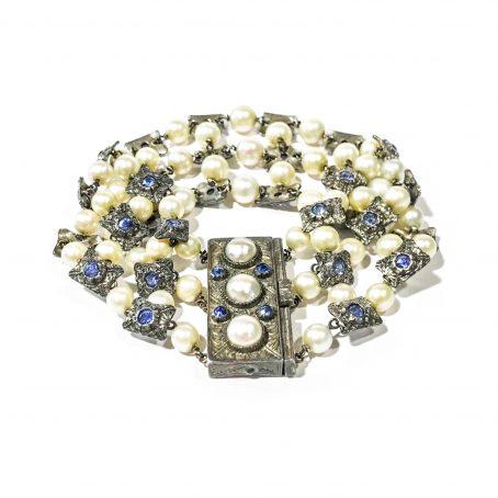 antico bracciale in argento con perle e zaffiri