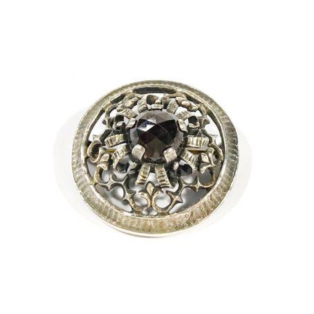 antique Austrian brooch in silver with garnet