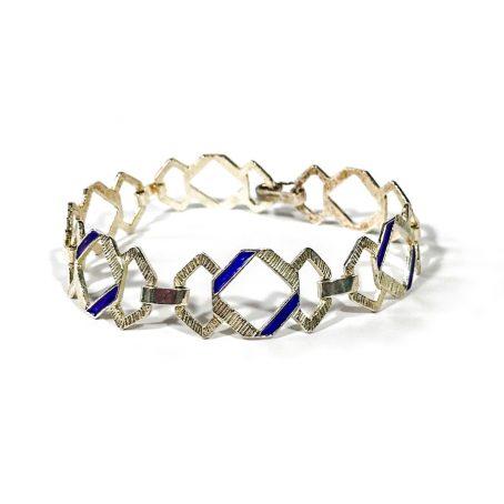 modernist silver enamel bracelet