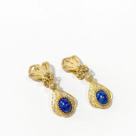 orecchini a cleap in filigrana d'argento con lapislazzuli