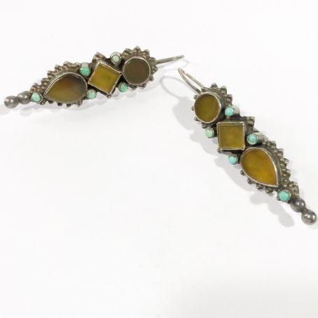 orecchini etnici pendenti in argento con turchesi e agate