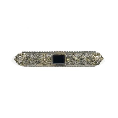 silver art deco brooch with onyx and marcasite