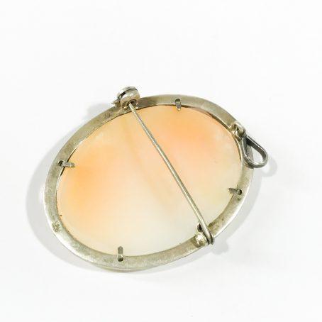 spilla anni 40 in argento e marcasite con cammeo