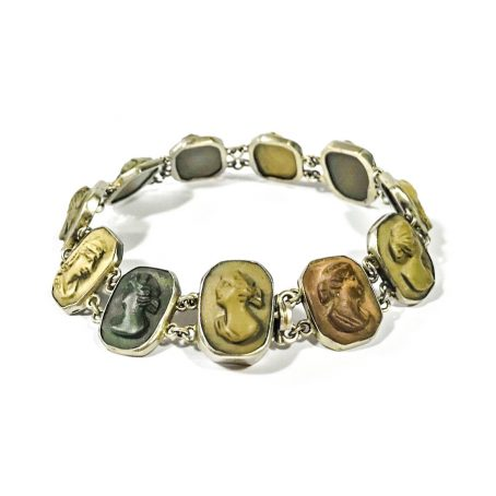 Victorian bracelet with lava stone cameos
