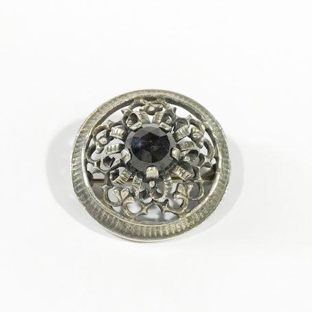 antica spilla austriaca in argento con granato