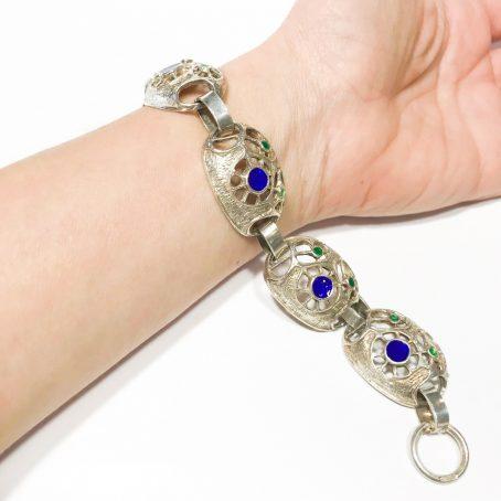Italienisches Armband, Arezzo Jahre 70 in Silber und Emaille