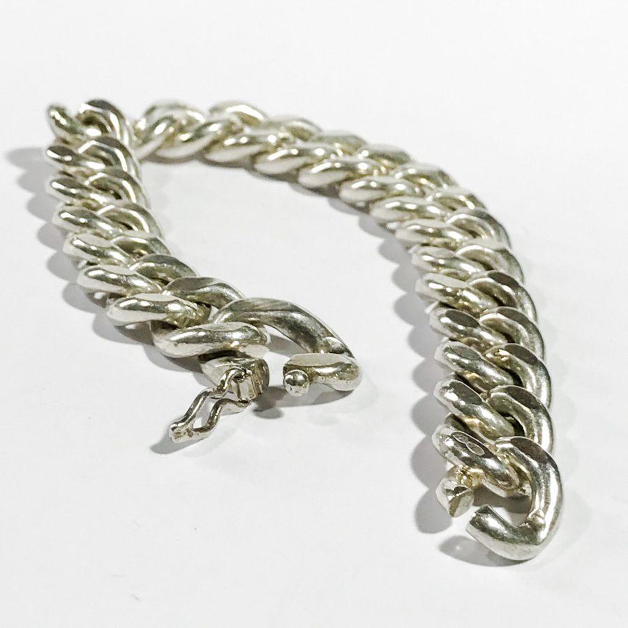 bracciale retrò da uomo catena piena in argento