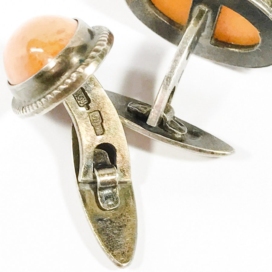 detail Soviet early period sterling silver cufflinks with butterscotch amber