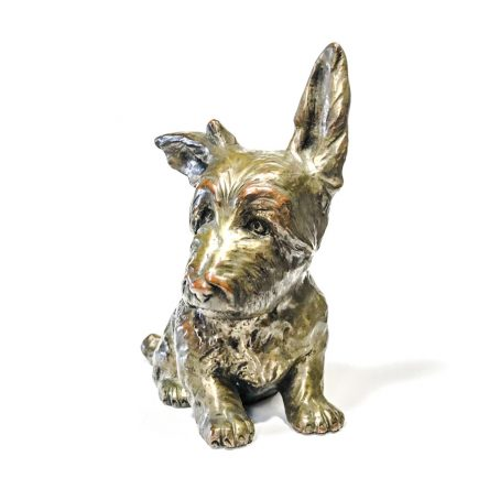 Scottish Terrier, art deco sculpture in terracotta