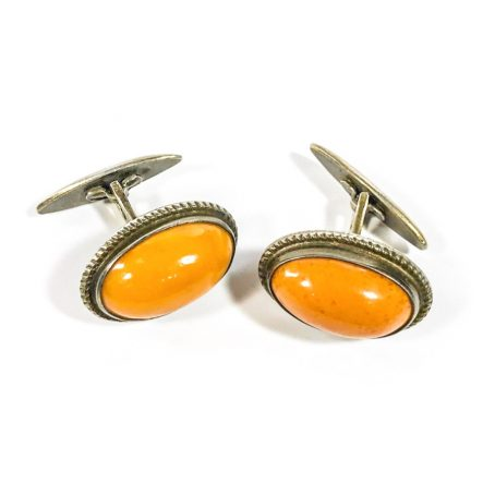 Soviet retro cufflinks in silver with butterscotch amber