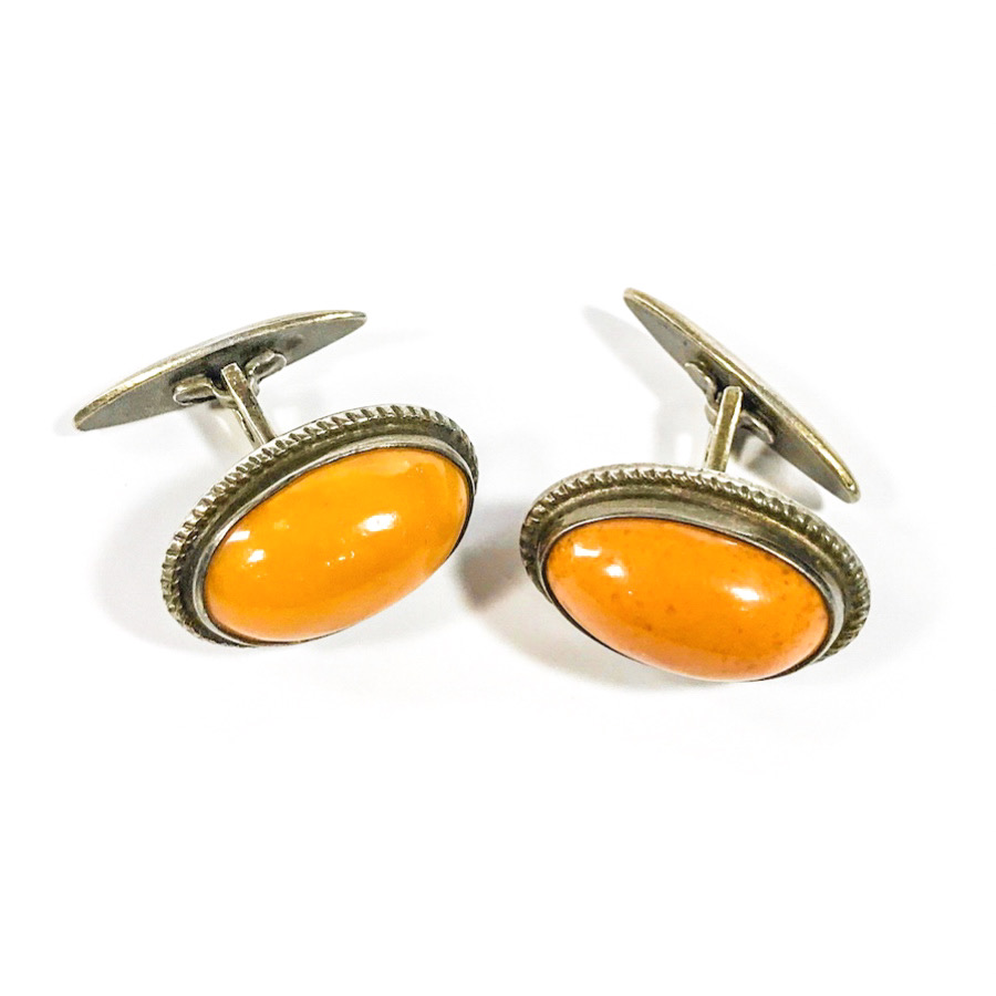 Soviet early period sterling silver cufflinks with butterscotch amber