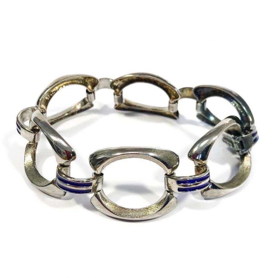 bracciale argento smaltato vintage