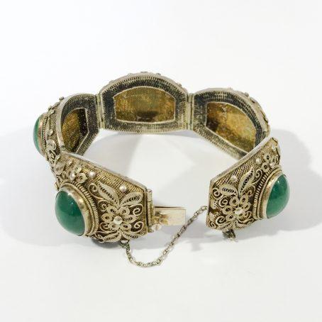 bracciale argento antico cinese in filigrana e giada