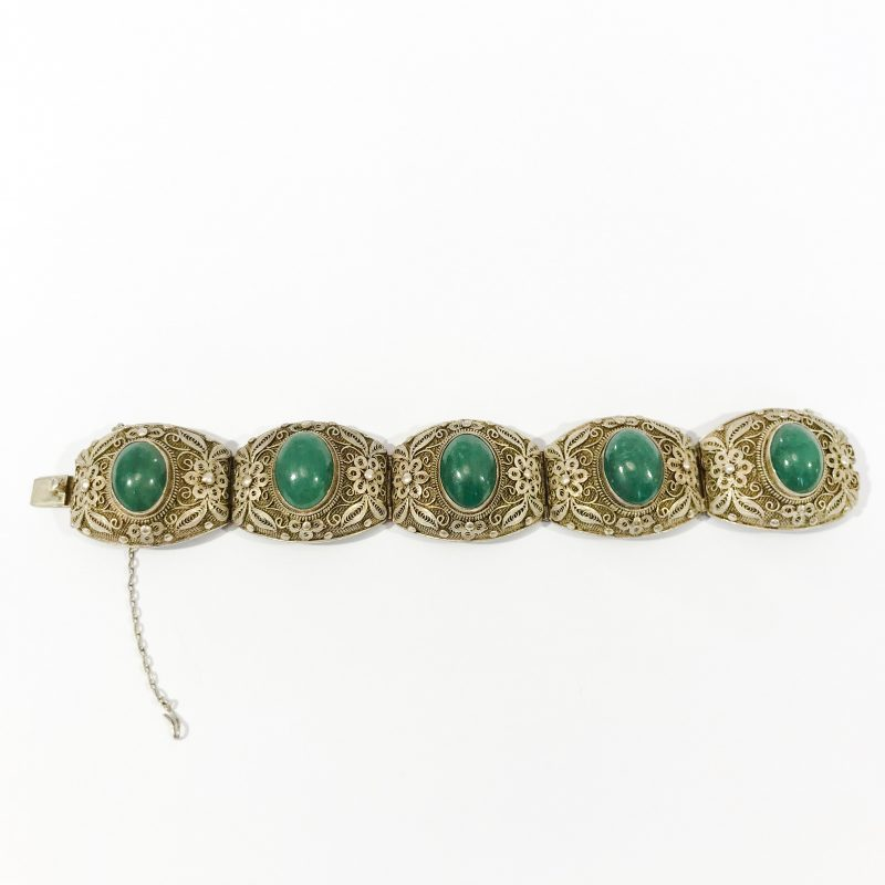antique chinese silver bracelet with jade