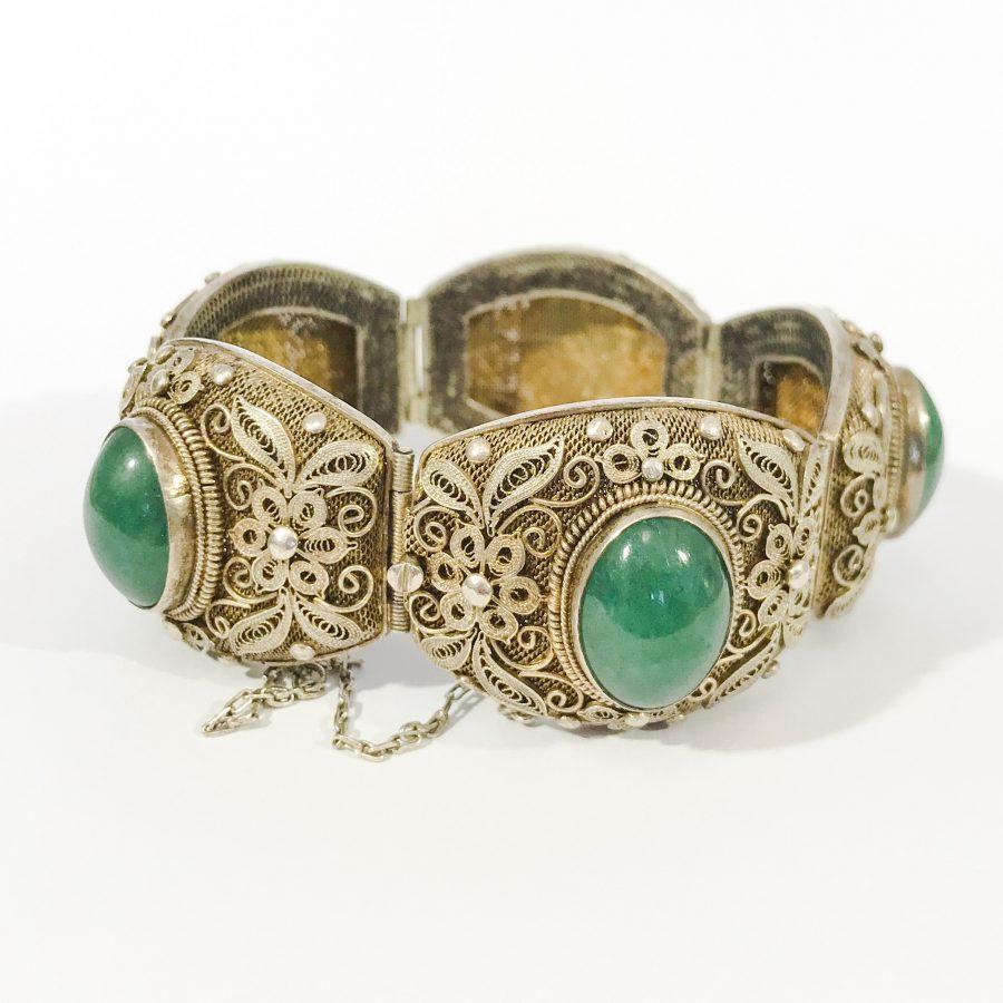bracciale argento antico cinese con giada
